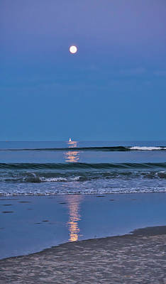 Moonlight Sail 3 - Ogunquit Beach - Maine Poster