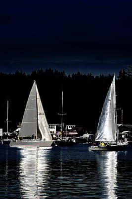 Poster featuring the photograph Moonlight Sailing by David Patterson