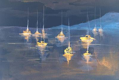 Moonlight Sailing Poster by Julie Lueders