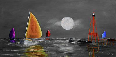 Moonlight Sailnata 3 Poster by Ken Figurski