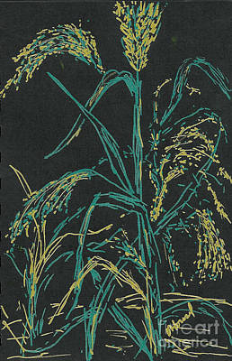 Poster featuring the mixed media Moonlight Wheat by Vicki  Housel
