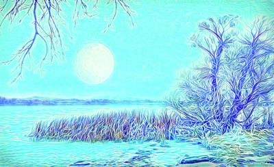 Poster featuring the digital art Moonlit Lake In Blue - Boulder County Colorado by Joel Bruce Wallach