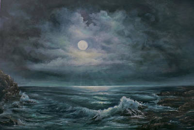 Poster featuring the painting Moonlit Seascape by Katalin Luczay