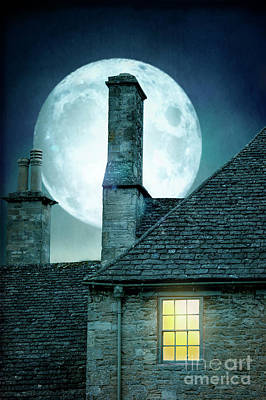 Moonlit Rooftops And Window Light  Poster