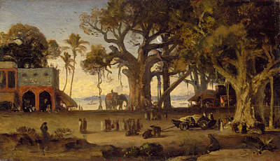 Moonlit Scene Of Indian Figures And Elephants Among Banyan Trees Poster by Johann Zoffany