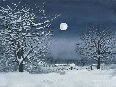 Moonlit Snowy Scene On The Farm Poster