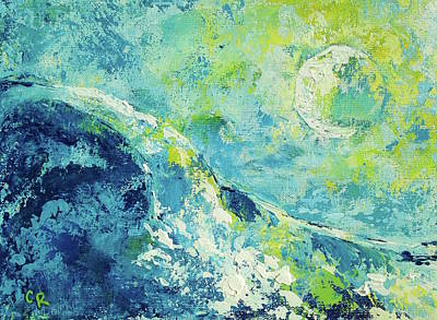 Poster featuring the painting Moonlit Surf by Chris Rice