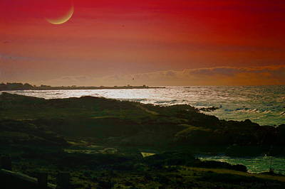 Moonrise And Sunset On The Pacific Poster