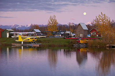 Moonrise At Lake Hood Poster by Tim Grams