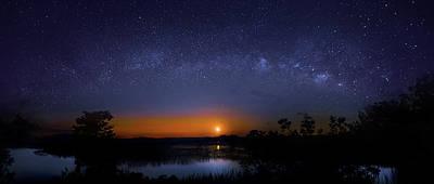 Moonrise At Milky Way Creek Poster