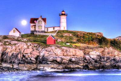 Moonrise At Nubble Light Poster