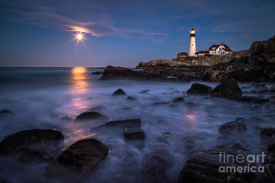 Moonrise At Portland Head Light Poster