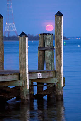 Poster featuring the photograph Moonrise Dock by Jennifer Casey
