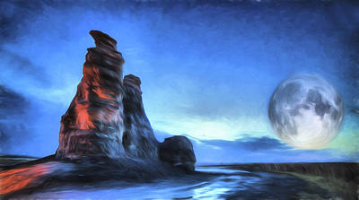 Poster featuring the digital art Moonrise Over Castle Rock by JC Findley