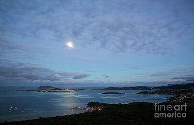 Moonrise Over Kaneohe Bay Poster by Charmian Vistaunet