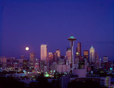 Moonrise Over Seattle Skyline Poster by Greg Vaughn - Printscapes