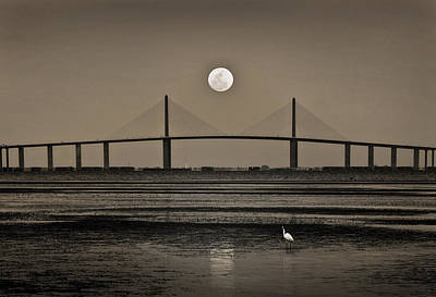 Moonrise Over Skyway Bridge Poster