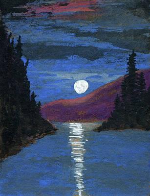 Moonrise Over Strait Poster