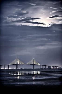 Moonrise Over Sunshine Skyway Bridge Poster