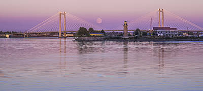 Moonrise Over The Cable Bridge Poster by Loree Johnson