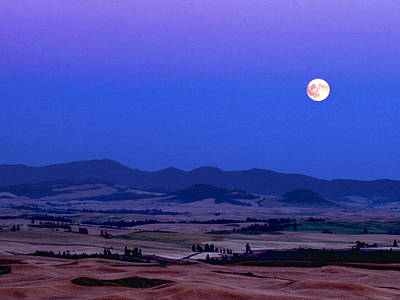 Moonrise Over The Palouse By Jean Noren Poster by Jean Noren