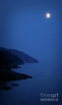 Moonrise Over Vernazza Poster by Doug Sturgess
