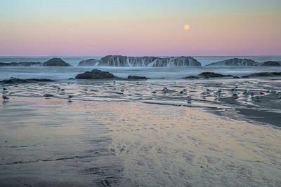 Moonset At Seal Rock Poster