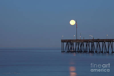 Moonset At The Ventura Pier Poster by John A Rodriguez