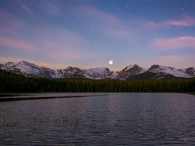 Moonset On Bierstadt Lake Poster by Aaron Spong