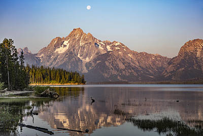 Moonset On Jackson Lake Poster by Diana Hughes