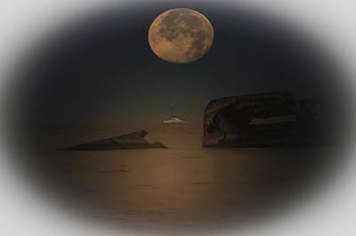 Moonset Over Atlantus Poster