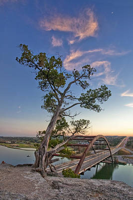 Moonset Over The 360 Bridge Austin Texas 1 Poster