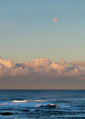 Moonset Over The Pacific Poster by Alan Toepfer