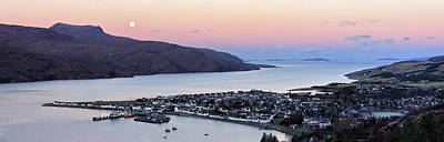 Poster featuring the photograph Moonset Sunrise Over Ullapool by Grant Glendinning