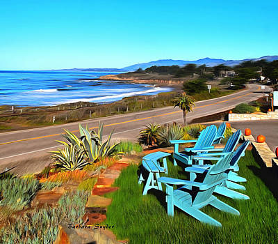 Poster featuring the photograph Moonstone Beach Seat With A View Digital Painting by Barbara Snyder