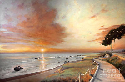 Moonstone Cambria Sunset Poster by Michael Rock
