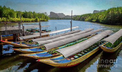 Moored Longboats Poster by Adrian Evans