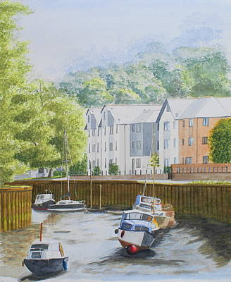Moorings At Totnes Poster