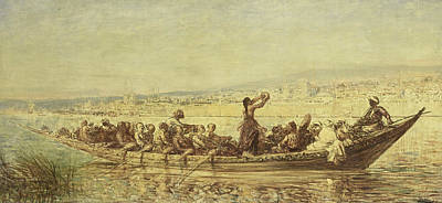 Moorish Rowers At Constantinople Poster by Felix Ziem