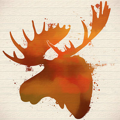Moose Head Autumn Paint Poster