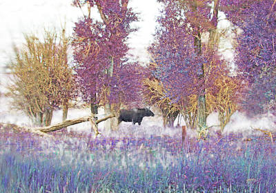 Moose In Pink Forest Poster by Jennie Marie Schell