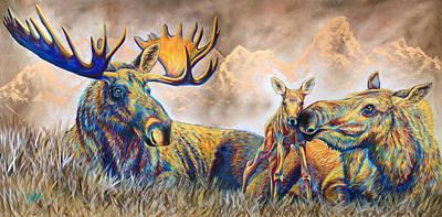 Moose Meadows Poster by Teshia Art