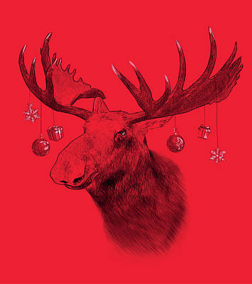 Moose On Red Background. Illustration In Draw, Sketch Style. Fun Poster