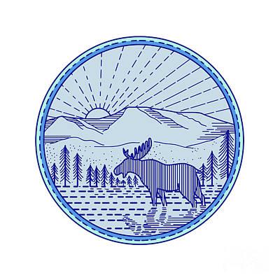 Moose River Flat Mountains Sunburst Circle Mono Line Poster