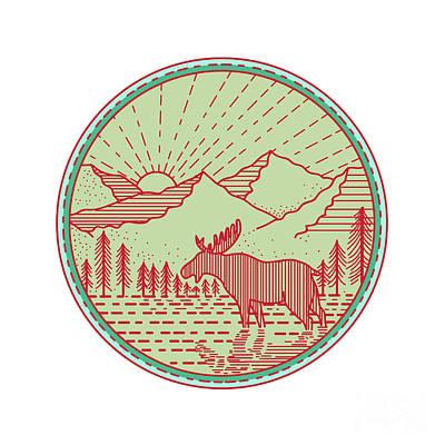 Moose River Mountains Sun Circle Retro Poster
