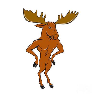 Moose Standing Hands Akimbo Cartoon Poster by Aloysius Patrimonio