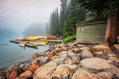 Moraine Lake And Boathouse Poster