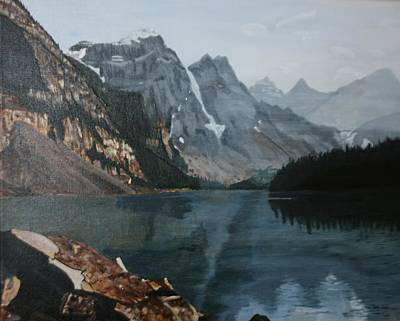 Poster featuring the painting Moraine Lake by Betty-Anne McDonald