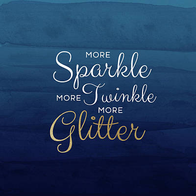 More Sparkle Blue- Art By Linda Woods Poster