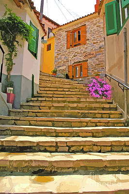 More Steps In Santorini Poster